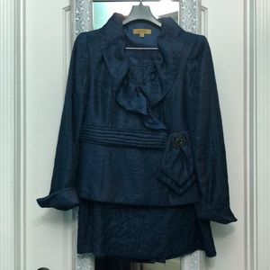 Kasper skirt suit with ruffled jacket